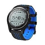 アディダス 腕時計 4色 F3 運動型 スマートウォッチ/スマートブレスレット/腕時計 IP68防水( 防水30メートル)、超長時間使用でき(365日間)、歩数計、距離、睡眠モニター、通話/メッセージ通知、通話アラート、、座りがちアラーム機能、アラーム、リモートカメラ、運動ステップ、カロリー消費、移動距離記録、発信者、SMSのメッセンジャー、アプリニュースのリマインダ、ランニング、ジョギング、天気、気圧計、ストップウォッチ、高度計など (青黒, F3運動型のマートウォッチ)