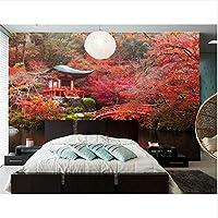 Ljjlm 日本秋の公園橋池木自然の壁紙、レストランのリビングルームテレビの背景ソファの壁寝室バー3 D壁画浮世絵-360X240CM