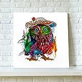 絵画 アートパネル カラフルふくろう油絵風 ファブリックパネル 幸せを招く風水絵画 ふくろう キャンバス 木製枠付き50*50cm*1