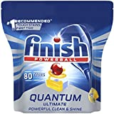 Finish Powerball Quantum Ultimate Dishwasher Tablets, 80 Pack, Lemon Sparkle