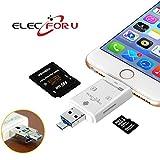 ElecForU カード リーダー iphone android PC 対応 SD/TFカードリーダー ビデオ/写真/ファイル転送 携帯用 sd カード リーダー