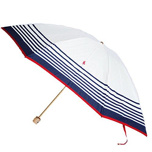 ラルフローレン 折りたたみ傘 トラッド ホワイト/ネイビー/レッド ストライプウッドハンドル 開きやすい傘