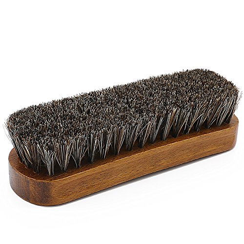 Coolli 馬毛ブラシ 靴磨き ブラシ 革物 ブラッシング ホコリ落とし 汚れ落とし 100%天然馬毛 靴用ブラシ レザーケア 革製品のお手入れに最適 携帯 出張用 ホースブラシ