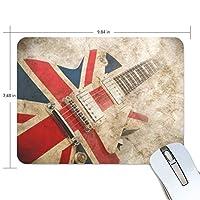 マウスパッド ギター英国旗 疲労低減 ゲーミングマウスパッド 9 X 25 厚い 耐久性が良い 滑り止めゴム底 滑りやすい表面
