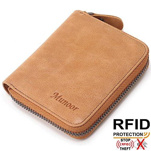 Munoor RFID遮断盗難防止カード段・コイン段の多い短型クラシックチャックバッグカードケース