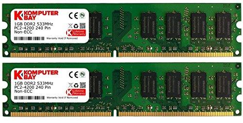 Komputerbay メモリ 2枚組 DDR2 533MHz PC2-4200 1GBX2 DUAL 240pin  DIMM デスクトップ パソコン用 増設メモリ 2GB デュアル