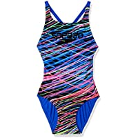 Speedo Girls' Fluorescent Lines Elevate ONE Piece, Fluorescent Lines