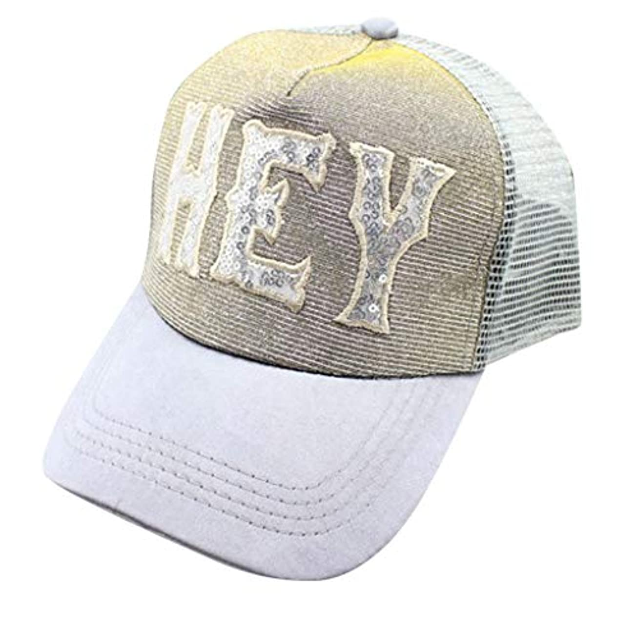 海岸明確な横向きメンズレディースキャップ小顔効果つば広可愛い野球帽スパンコールメッシュサイズ調節可ハット (E)