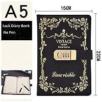 YongJiaDianZi A5サイズとコンビネーションロックレトロロックノートブックは、学生日記PUレザーパスワードノートブックを記入できます (色 : ブラック)