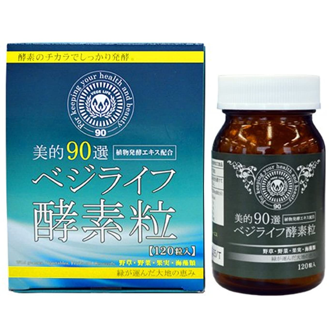 世界巨大なカイウス植物発酵エキス配合 美的90選ベジライフ酵素粒(120粒入り)