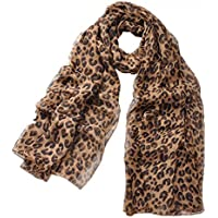 Women Leopard Print Scarf Extra Large Lightweight Chiffon Shawl Wraps for Spring Summer