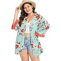 Milumia Plus Size Kimono Cardigan Floral Print Long Sleeves Contrast Outwear