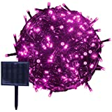 RPGT ソーラーLEDイルミネーションライト 53m 500LED ソーラーライトストリング USB充電 防水 8ライトモード ソーラー充電式 クリスマスガーデン装飾ライトストリング 屋外、クリスマスツリー、ガーデン、パス、ウェディングパーティデコレーション (ピンク)