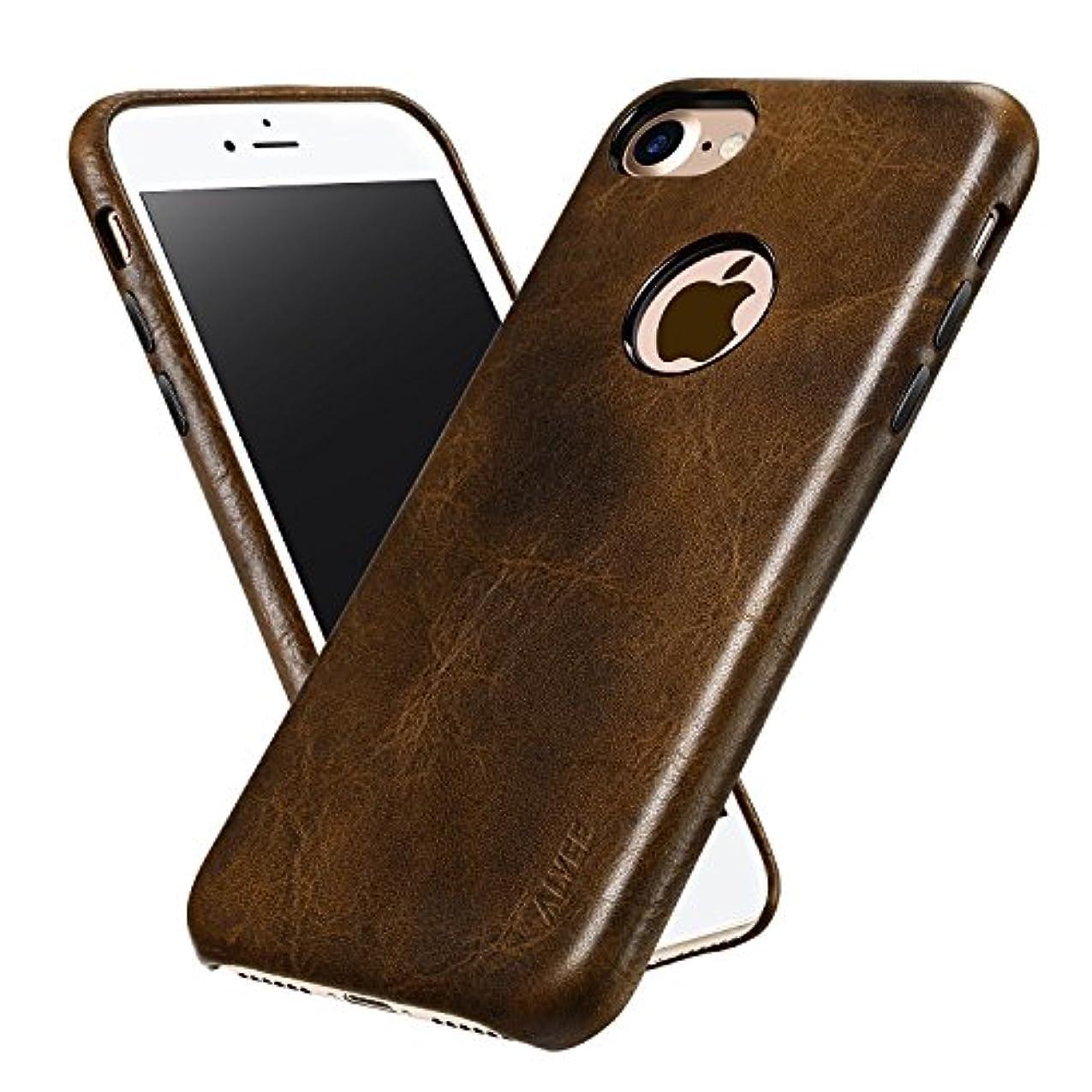 出席するマーベル前置詞ALYEE iPhone 7ケース,超薄型で本物の皮製の保護用ケースであり、4.7インチのiPhone7(コーヒー色)に適合する