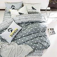 コットン100% ベッドカバー 寝具カバー 4点セット 3点 ボックスシート 掛けふとんカバー 布団 敷ふとんカバー ピローケース 枕カバー 綿 ストライプ グレー調 灰色 ネイビー シンプル 北欧 キングサイズ クイーン ダブル