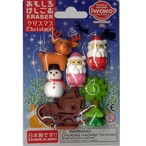 イワコーおもしろ消しゴム クリスマス ミニフィギュア消しゴム6個セット(サンタクロース(赤サンタ・ピンクサンタ)、トナカイ、雪ソリ、雪だるま、クリスマスツリー)
