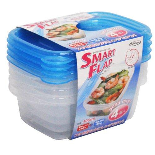 岩崎 食品保存容器 電子レンジ対応 スマートフラップ 角型 400ml Sサイズ 4個組 A-040