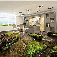 Wuyyii カスタム水彩石3Dリビングルームレストランロビー廊下自己接着床装飾壁紙壁画-350X250Cm