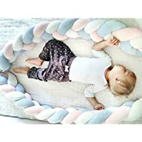 4M新作 ベビーベッドガード サイドガード ノットクッション 抱き枕 赤ちゃんベッドバンパー ロング 癒しアイテム 部屋飾り 写真記念 撮影小物 出産祝い  (4m, ピンク/ブルー)