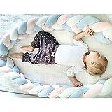 ベビーベッドガード サイドガード 抱き枕 ノットクッション 赤ちゃんベッドバンパー ソファークッション 結び目 ロング 部屋飾り 撮影小物 出産祝い プレゼント (2m, ピンク/ブルー)