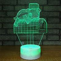 3dナイトライトタッチスイッチled動物3dランプ7色usb 3dイリュージョンデスクランプ家の装飾用キッズおもちゃギフト