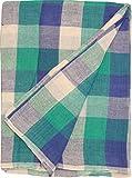 PL チェックマルチカバー 長方形 グリーン/ネイビー 225×150cm 50859