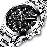 [メガリス]MEGALITH 腕時計メンズ クロノグラフ時計ステンレス 多針アナログクオーツ防水ウオッチブラック 金属 日付カレンダー かっこいい おしゃれ ビジネス カジュアル メタル男性腕時計
