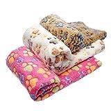 ペット ブランケット 毛布 犬猫ペット用 マット タオル ソフト サンゴフリース 秋冬の防寒 洗える 可愛い猫の足跡 四季適用 3色セット3枚セット76*52cm)