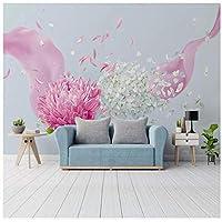 Wkxzz カスタム3D花の背景壁紙壁画-200X140Cm