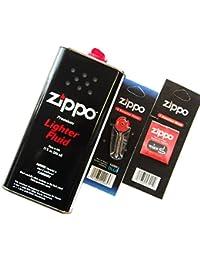zippo ジッポー社純正 オイル缶L+フリント(発火石)+ウィック(替シン)3点セット