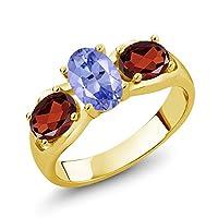 Gem Stone King 1.75カラット 天然石 タンザナイト 天然 ガーネット シルバー925 イエローゴールドコーティング 指輪 リング