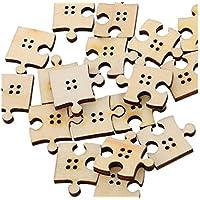 FenBuGu-JP 興味深い ミックスナチュラルカラーパズルの形状4穴の木製ボタン