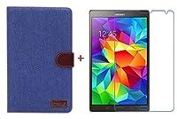 【RIRIYA】サムスン Samsung Galaxy Tab S 8.4専用 ジーンズケース スタンド機能付き デニム生地カバー 3色「521-0033」 (ケース+透明液晶保護フィルムセット インディゴブルー)