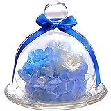 TEATSIGHT プリザーブドフラワー フラワーアレンジ ラッピング済み ガラスポット入り 2輪 (バラ 白×水色)
