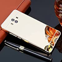 Huawei Mate8 Mirror ケース, Shiny Awesome Make-up Mirror Plated Aluminum Metal Frame Bumper Slim カバー, TAITOU Cool 2 in 1 Ultralight Thin Phone Case For Huawei Mate 8 Gold