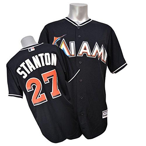 Majestic(マジェスティック) MLB マイアミ・マーリンズ ジャンカルロ・スタントン Cool Base Player Replica Game Jersey (オルタネート/ブラック) - S