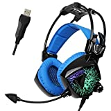 SADES Updated MoLing USB Multi-colors Flashing LED Light Stereo Gaming Headset Headband Headphone with Microphone/Volume-control/Noise-isolating for PC Mac Computers (Black Blue) [並行輸入品]