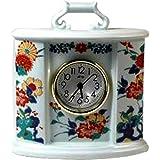 置き時計 : 有田焼 岩花鳥 楕円時計
