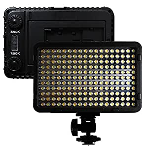 LOE(ロエ) 198B 大光量 1250ルーメン Bi-Color (色温度調整機能付き) LED カメラ/ビデオ撮影 LEDライト 定常光ライト 198球のLEDを搭載 16:9ワイドスクリーン LED照明 バッテリー(DC9V入力可) または 単三電池 6本で供給ができる 三脚に取り付けもできる モバイルタイプ Canon,Nikon,Sony A/キャノン,ニコン,ソニー,パナソニック対応 (198B)