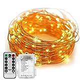イルミネーションライト DOUBEE ストリングライト LED 10m 電球数100 電池式 ワイヤーライト クリスマス パーティー 結婚式 誕生日 飾りライト スター 電飾 室内室外 防水 電球色