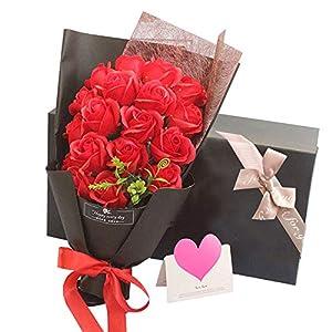 ソープフラワー LangRay 枯れない花 造花 花束 バラ 贈り物 敬老の日 母の日 誕生日 記念日 お見舞い プレゼント ギフトボックス(レッド)