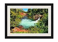 池の滝 - 木製フレーム額装ポスター 絵画 ホーム壁の装飾 額縁 木枠額装絵画 壁画 50x35cm 黒い枠