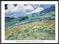 ポスター フィンセント ファン ゴッホ Landscape from Saint-Remy 1889 額装品 アルミ製ハイグレードフレーム(ブラック)
