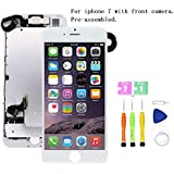 Screen Compatible with iPhone 7 Full Assemby - LCD 3D Touch Display Digitizer with Ear Speaker, Sensors and Front Camera, Fit Compatible with iPhone 7 (White)