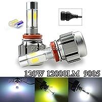 FidgetGear COB ヘッドライト電球キット9005 HB3ハイビーム120Wカラースワップ3K 6K V8#3