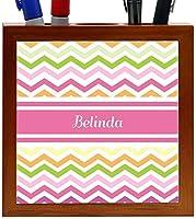 Rikki Knight Belinda Pink Chevron Name Design 5-Inch Wooden Tile Pen Holder (RK-PH6409) [並行輸入品]