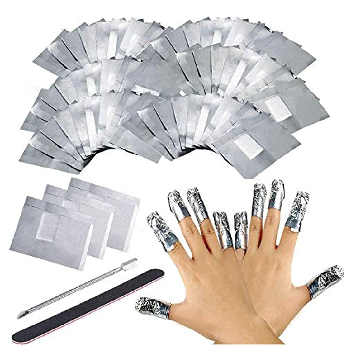 めまい扱う一200枚 ジェルネイル リムーバー アセトン ジェル 使い捨て ネイル用品, ジェルオフリムーバー アクリルUVジェル, 付き 1本ネイルオフプッシャー そして 1本 ネイルファイル