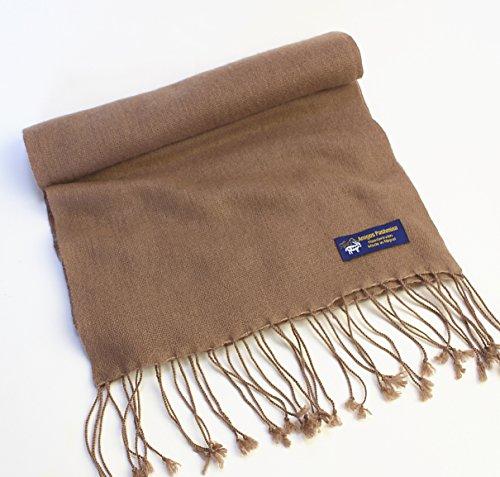 カシミヤ100%マフラー全20色ネパール製手織り最高級パシュミナ (ココア)