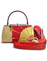 [ 京都きもの町 ] 振袖 草履バッグセット 赤色 花 Lサイズ 三枚芯 フォーマル 和装