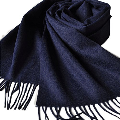クラシック 無地 チェック柄 厚い ウール カシミヤ カシミア ビジネス メンズ レディース スカーフ マフラー ダークブルー